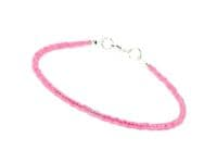 Dainty Bright Hot Pink Layering Seed Bead Holiday Anklet   Silver Sensations